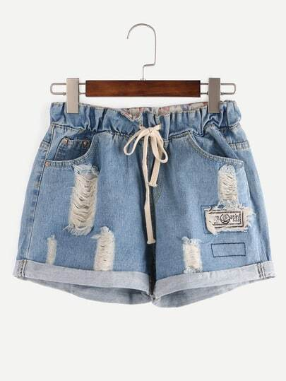 Shorts rotos cintura con cordón denim -azul