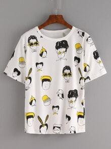 Camiseta caricatura estampada -blanco