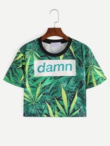 Crop T-Shirt mit Blatt Druck und Kontrastausschnitt