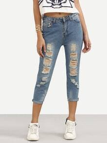 Ripped Stone Wash Blue Jeans