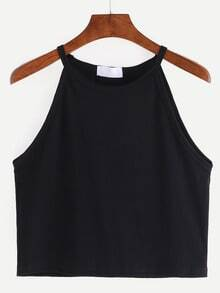 High Neck Crop Cami Top - Black