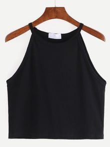Top escote alto crop cami -negro