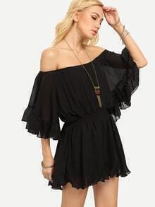 Off-The-Shoulder Ruffled Chiffon Romper - Black
