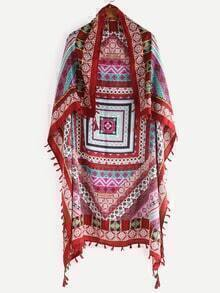 Tassel Trimmed Multicolor Tribal Print Kimono