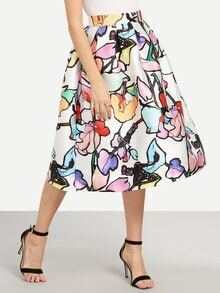 Multicolor Branch Print Box Pleated Midi Skirt