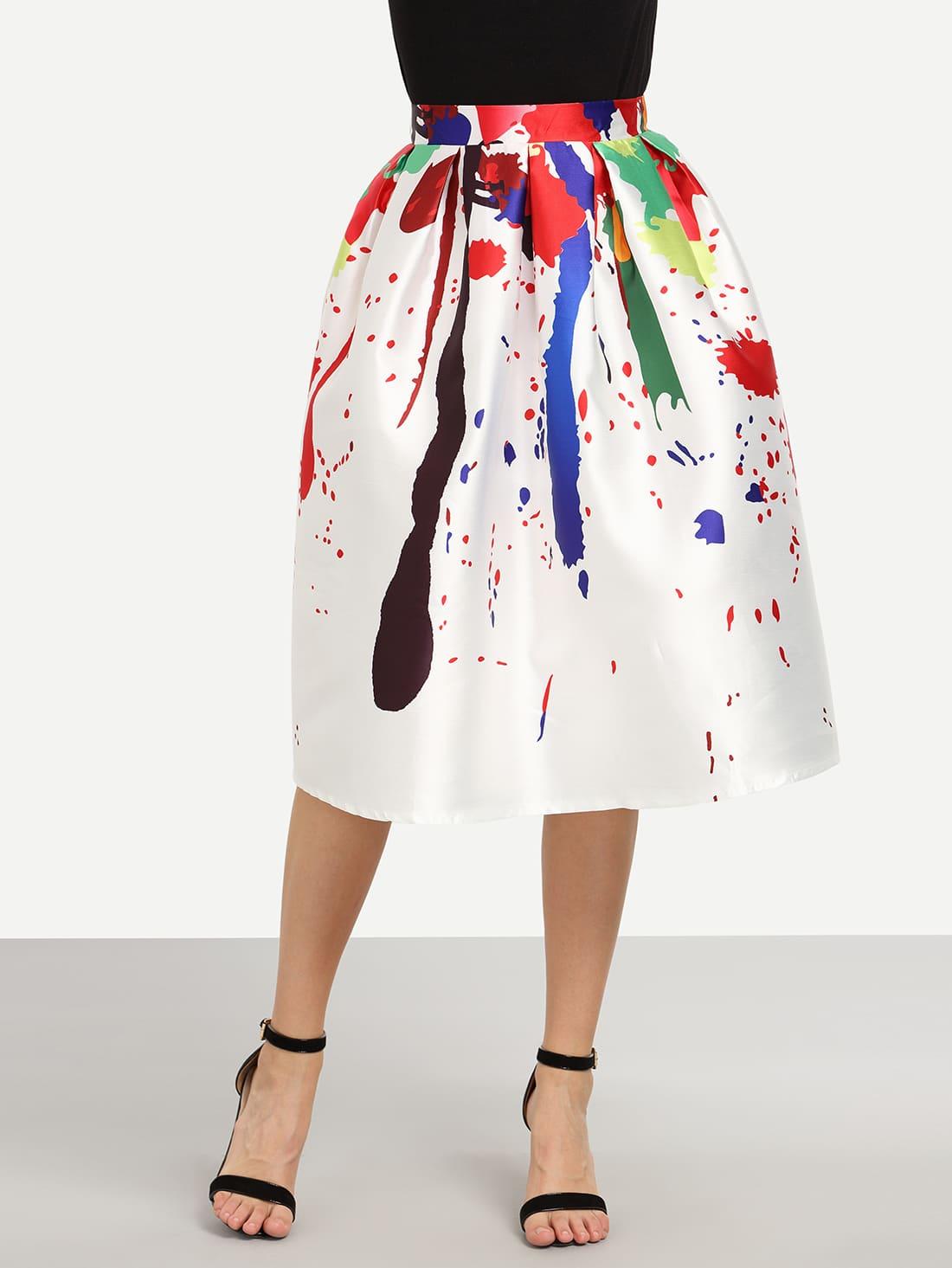 Multicolor Paint Splatter Print Box Pleated Midi Skirt ...