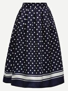 Polka Dot Print Box Pleated Midi Skirt - Navy