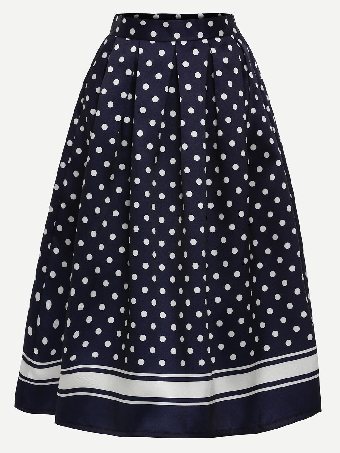 polka dot print box pleated midi skirt navy shein