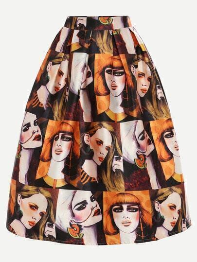 Multicolor Portrait Painting Print Box Pleated Midi Skirt