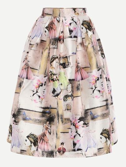 Multicolor Portrait Painting Print Box Pleated Midi Skirt