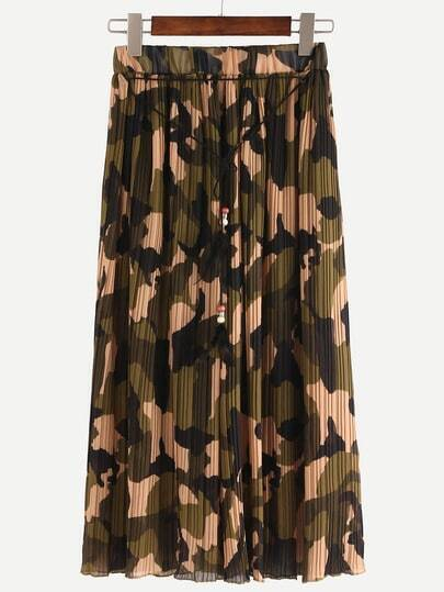 Camouflage Pleated Chiffon Wide Leg Pants - Olive Green