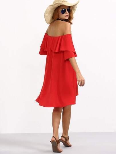 Flounce Layered Neckline Chiffon Dress