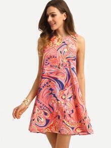 Multicolor Print Sleeveless Shift Dress