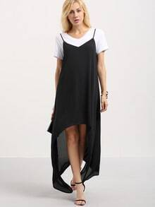 Vestido tirante fino asimétrico -negro