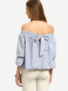 Multicolor Striped Off The Shoulder Bow Tie Blouse
