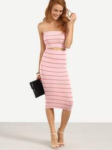 Pink Striped Backless Bandeau Top With Skirt