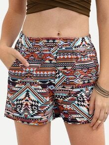Multicolor Print Vintage Pocket Shorts