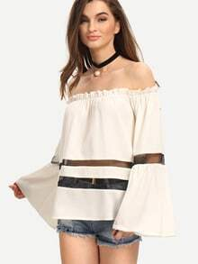 White Off The Shoulder Bell Sleeve Blouse
