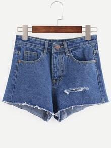 Blue Ripped Denim Shorts