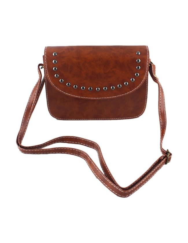 Фото Brown Pu Leather Small Handbag. Купить с доставкой
