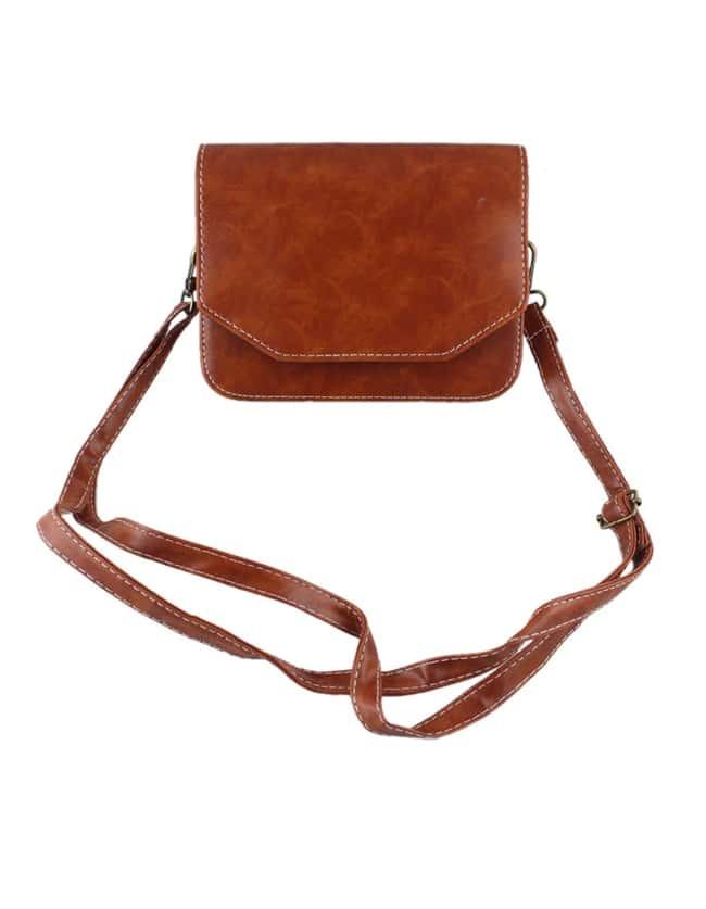 Brown Pu Leather Shoulder BagBrown Pu Leather Shoulder Bag<br><br>color: Brown<br>size: None