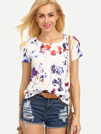 Colorful Leaf Print T-shirt