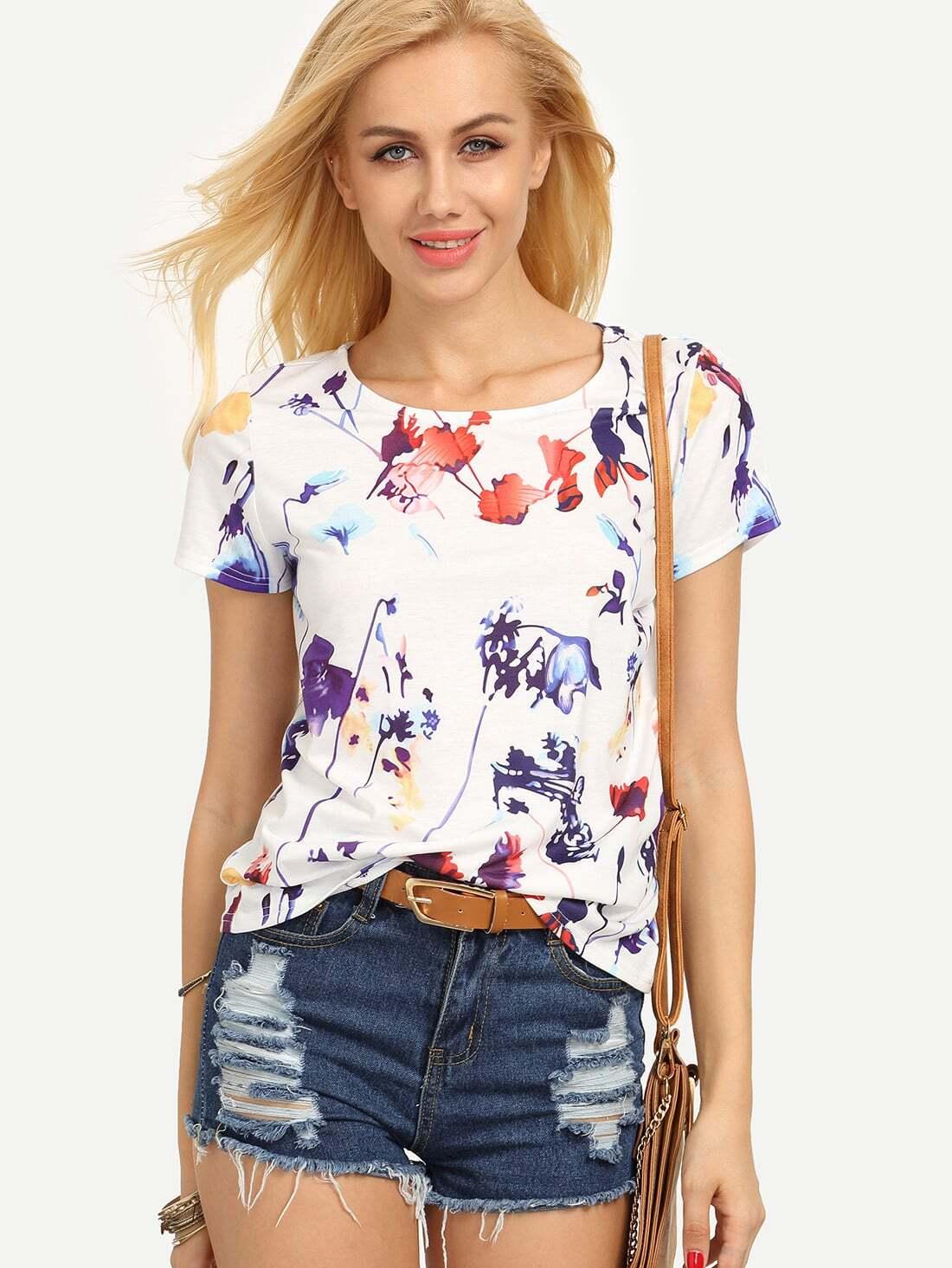 Colorful Leaf Print T-shirt все цены