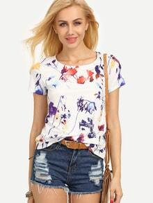T-shirt stampato con maniche corte-multicolore