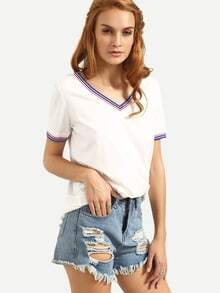 White V Neck Short Sleeve T-shirt