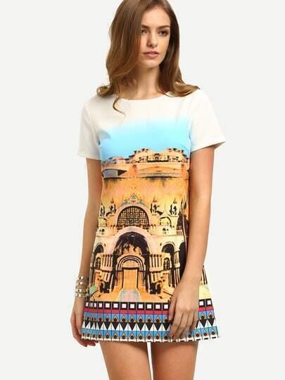 Multicolor Print Short Sleeve Dress
