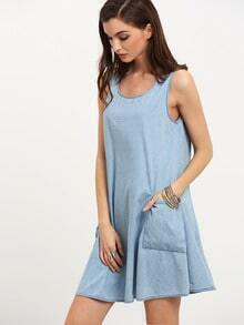 Blue Sleeveless Pocket Shift Dress