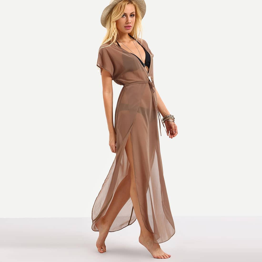 Plunging V-Neckline Drawstring Waist Split Dress