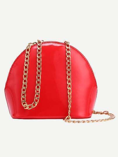 Faux Patent Leather Zip Closure Chain Bag - Red
