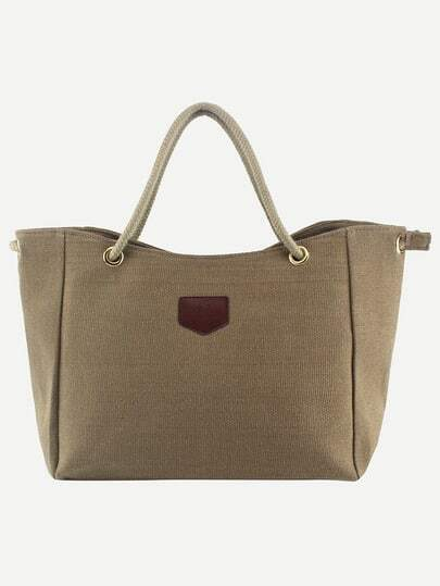 Rope Handle Canvas Tote Bag - Khaki