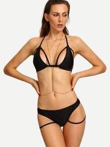 Halter Neck Strappy Bikini Set - Black