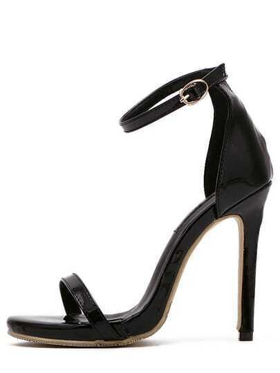 Black Peep Toe Buckle Strap Stiletto Sandals