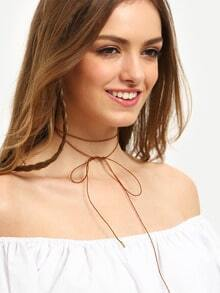 Coffee Simple Bow Cotton Thread Necklace