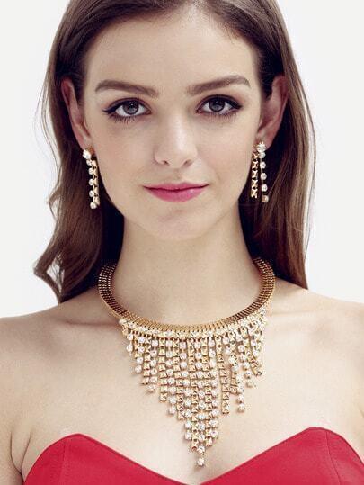 Golden Diamond Multilayer Pendant Jewelery Set