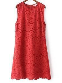 Red Sleeveless Zipper Keyhole Back Embroidery Dress