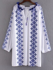 Blue and White Porcelain Embroidery Tie Neck Dress