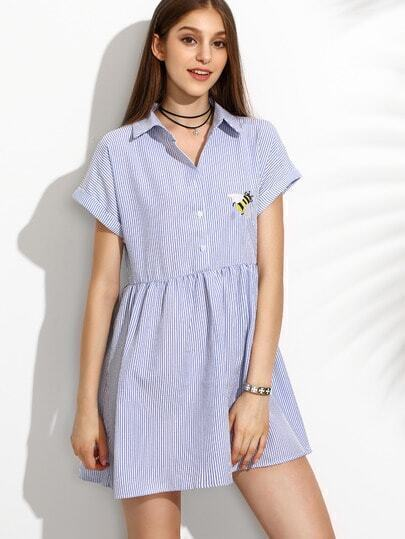 Blue Roll Cuff Bee Embroidery Bottons Front Stripe Dress