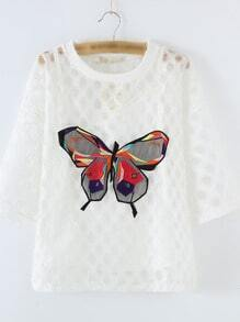White See Through Butterfly Embroidery Blouse With Strap