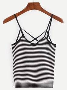 Strappy Knitted Black White Striped Cami Top