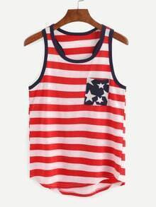 Contrast Trim Stars And Stripes Print Tank Top - Red