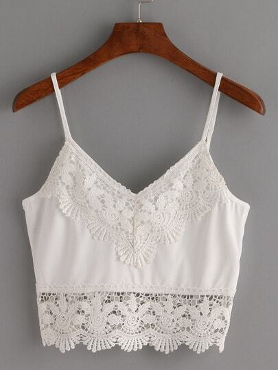 Crochet Trimmed Crop Cami Top