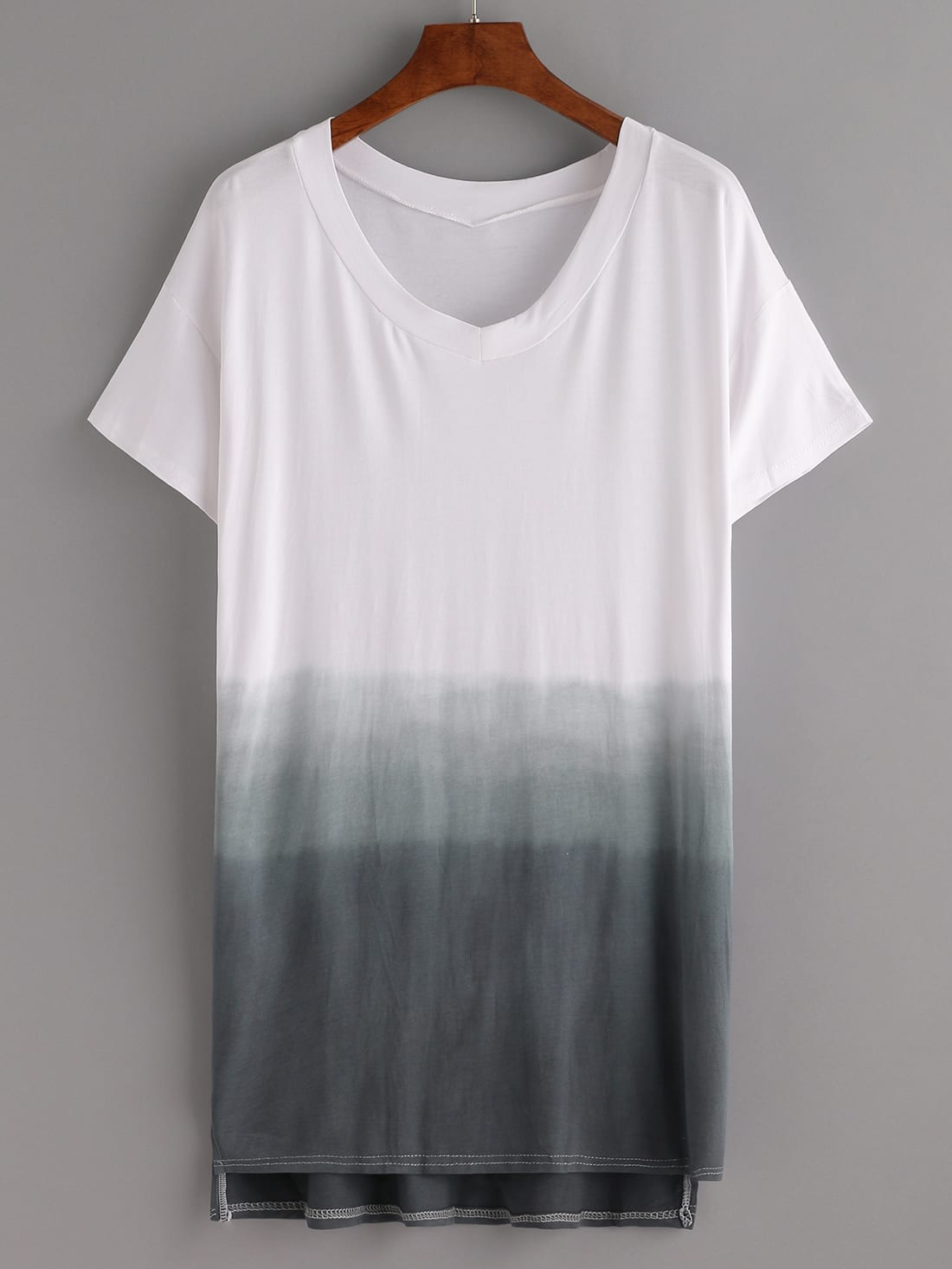 t shirt kleid hinten l nger mit farbverlauf german shein. Black Bedroom Furniture Sets. Home Design Ideas