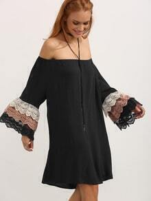 Off the Shoulder Bell Sleeve Contrast Lace Scallop Dress
