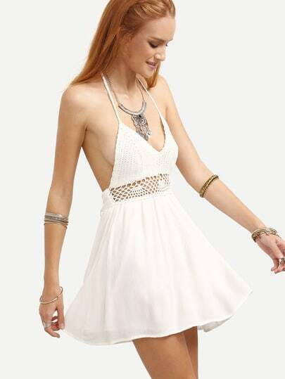 White Halter Neck Backless Hollow Out A-Line Dress