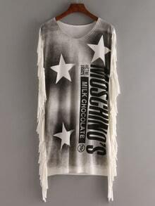 Stars And Letter Print Fringe Tshirt Dress