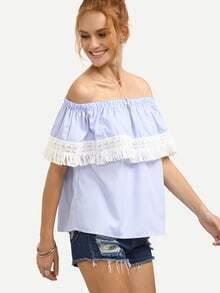 Off The Shoulder Vertical Striped Contrast Lace Fringe Top
